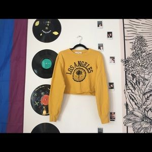 H&M Sweaters - Yellow cropped sweatshirt